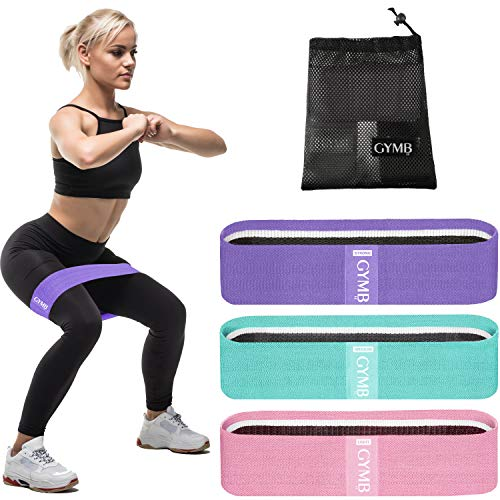 3 Fabric Resistance Bands for Legs and Butt, Loop Exercise Bands,...