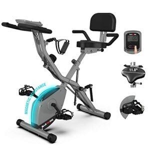BARWING Foldable Exercise Stationary Bike, 3-IN-1 Magnetic Uprigh...