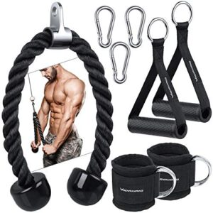 RANRENRING Tricep Rope Pull Down - Ankle Straps for Cable Machine