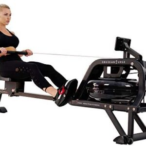 Sunny Health & Fitness Obsidian Surge 500 Water Rowing Machine -