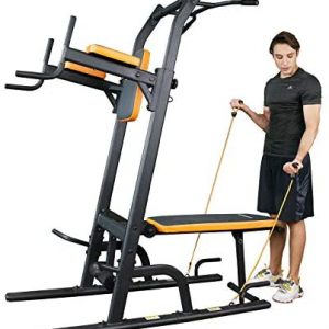 Power Tower Dip Station Multi-Function Pull Up Bar with Bench Adj